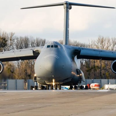 C5 Galaxy taxi to the runway in Wroclaw, Poland